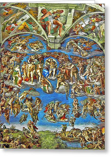 Chapel Mixed Media Greeting Cards - The Last Judgement Greeting Card by Michelangelo