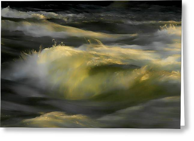 Water Flowing Greeting Cards - The Last Light of Sun Greeting Card by Donna Blackhall