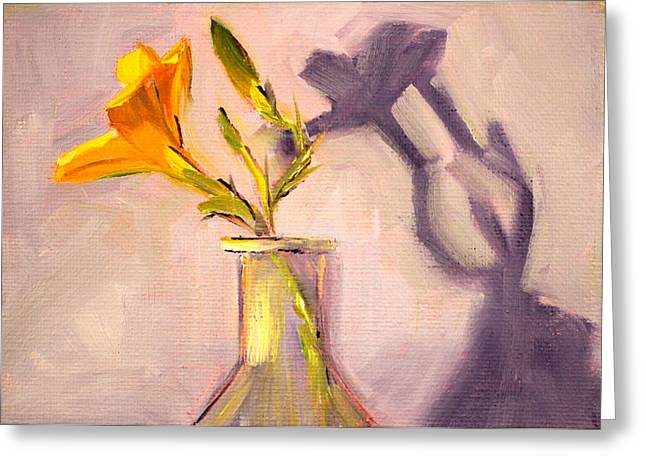 Indoor Still Life Paintings Greeting Cards - The Last Lily Greeting Card by Nancy Merkle