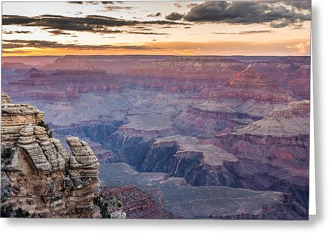 The Last Of The Red Sunlight In Grand Canyon Greeting Card by Pierre Leclerc Photography