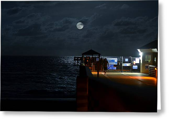Moon Beach Digital Art Greeting Cards - The Last Outpost Greeting Card by Laura  Fasulo