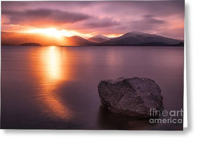 Colour Photographs Greeting Cards - The Last Rays  Loch Lomond Greeting Card by John Farnan