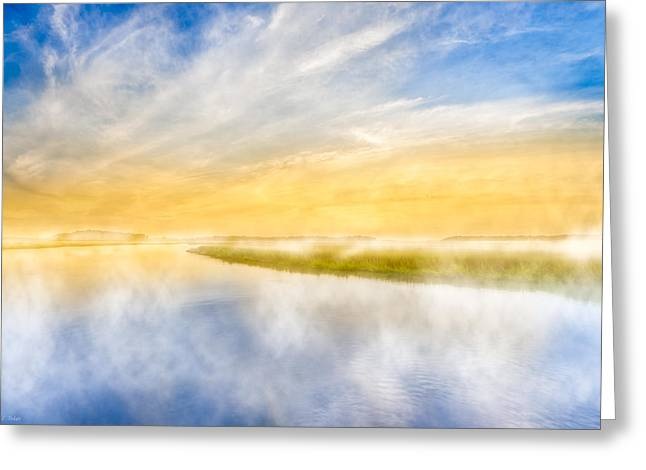 Foggy Ocean Greeting Cards - The Last Sea - Golden Coastal Dawn Greeting Card by Mark Tisdale