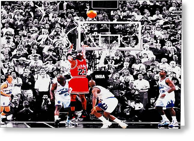 Chicago Bulls Greeting Cards - The Last Shot Greeting Card by Brian Reaves