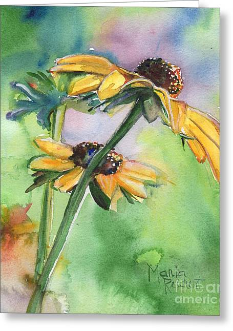 Yellow Coneflower Greeting Cards - The Last Smile Greeting Card by Maria