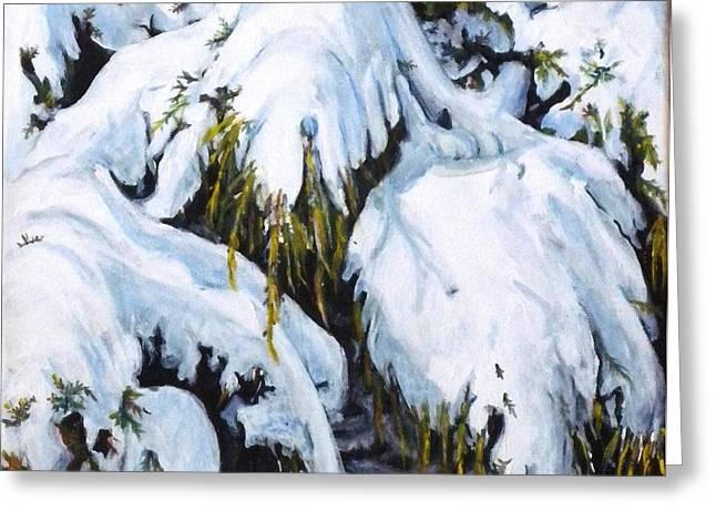 Pine Needles Paintings Greeting Cards - The Last Snowfall Greeting Card by Teresa  Pascos