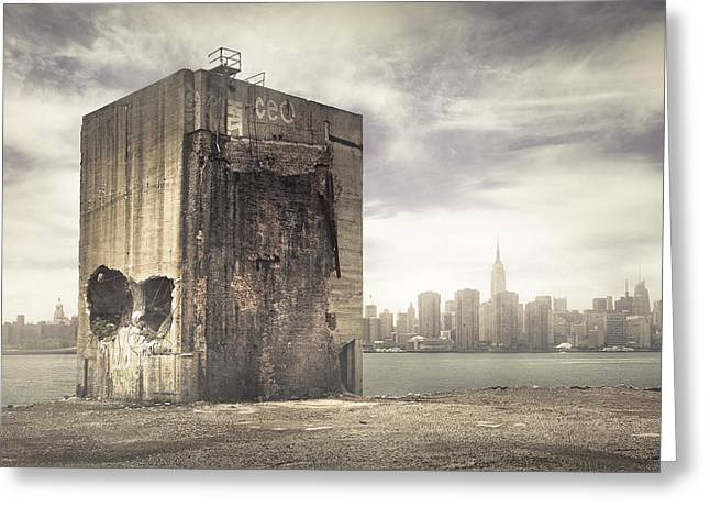 Abandoned Places Greeting Cards - The last stand - Brooklyn Ruins and New York Skyline Greeting Card by Gary Heller