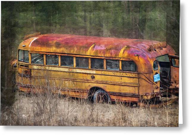 Bus Print Greeting Cards - The Last Stop Greeting Card by Kathy Jennings