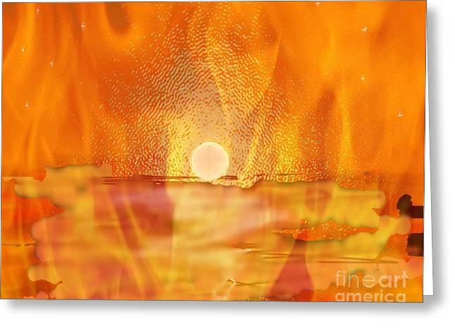Engulfing Greeting Cards - The Last Sunrise Greeting Card by Kim Peto