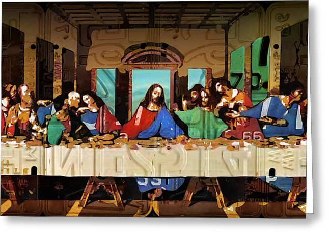 Old Masters Greeting Cards - The Last Supper by Leonardo Da Vinci Recreated in Recycled Vintage License Plates Greeting Card by Design Turnpike