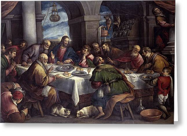 Last Supper Greeting Cards - The Last Supper Greeting Card by Francesco Bassano