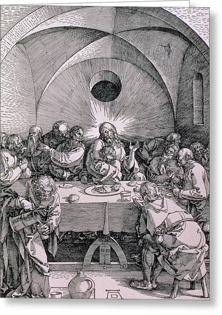 Conversing Paintings Greeting Cards - The Last Supper from the Great Passion series Greeting Card by Albrecht Duerer