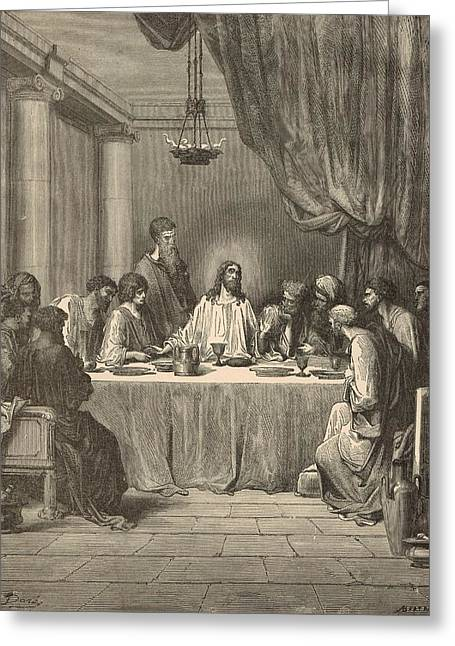 Jesus work Drawings Greeting Cards - The Last Supper Greeting Card by Antique Engravings