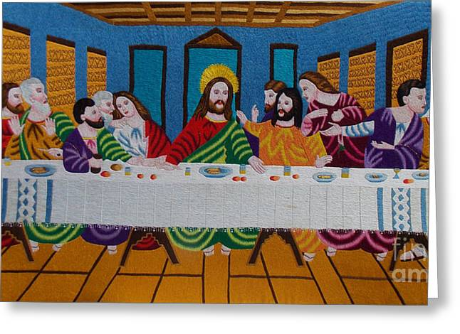 Religious Tapestries - Textiles Greeting Cards - The Last Supper hand embroidery Greeting Card by To-Tam Gerwe