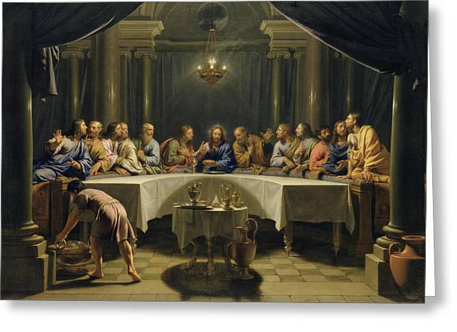 Ewer Paintings Greeting Cards - The Last Supper Greeting Card by Jean Baptiste de Champaigne