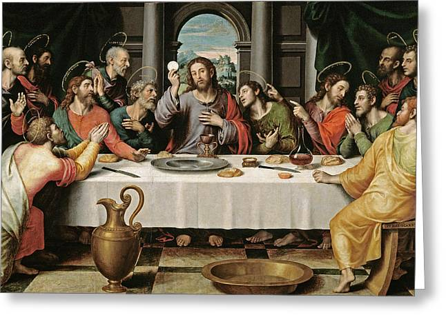 Table Cloth Greeting Cards - The Last Supper Greeting Card by Joan de Joanes