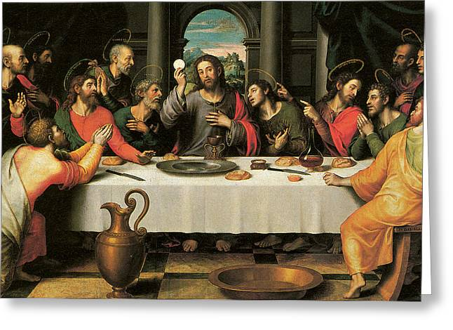 Last Supper Greeting Cards - The Last Supper Greeting Card by Juan De Juanes