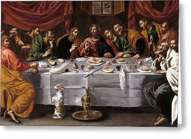 Luis Greeting Cards - The Last Supper Greeting Card by Luis Tristan de Escamilla