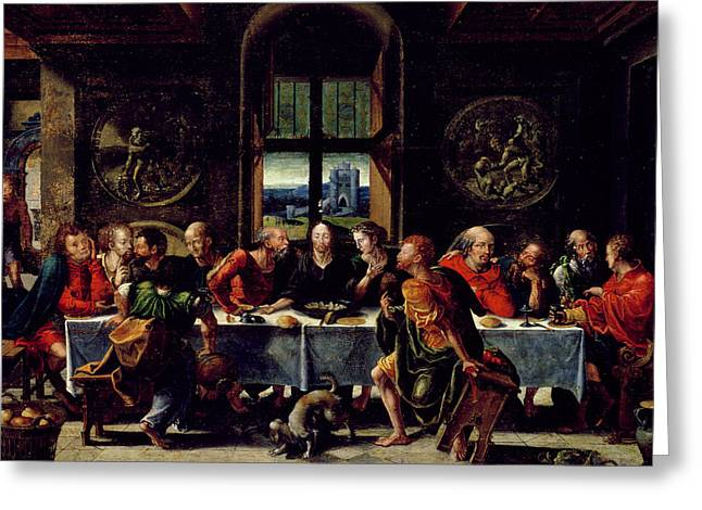 Last Supper Greeting Cards - The Last Supper Greeting Card by Pieter Coecke van Aelst