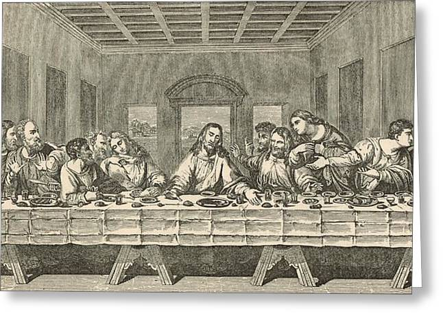 Last Supper Digital Greeting Cards - The Last Supper Greeting Card by Antique Engravings