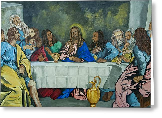 Jesus And Disciples Greeting Cards - The Last Supper Greeting Card by Ruth Soto