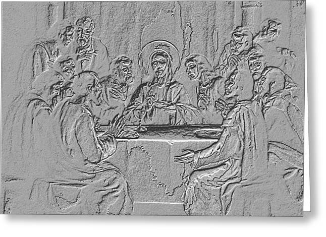 Last Supper Greeting Cards - The Last Supper Silver Sculpture - Religious Art Greeting Card by Banonoke-Art