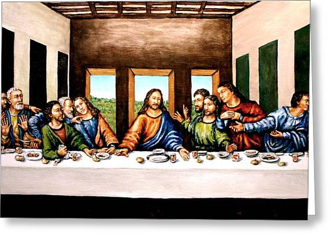 The Followers Greeting Cards - The Last Supper Greeting Card by Todd Spaur