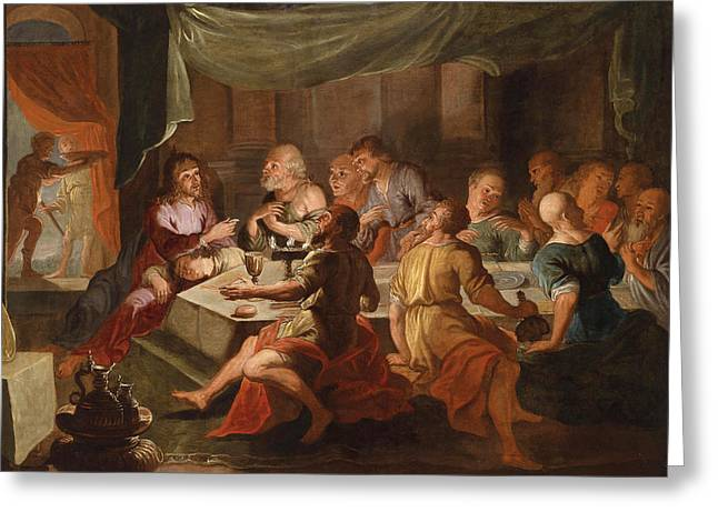 Last Supper Greeting Cards - The Last Supper Greeting Card by Willem van Herp the Elder