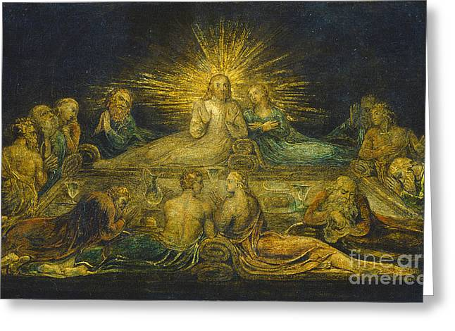 Religious Paintings Greeting Cards - The Last Supper Greeting Card by William Blake
