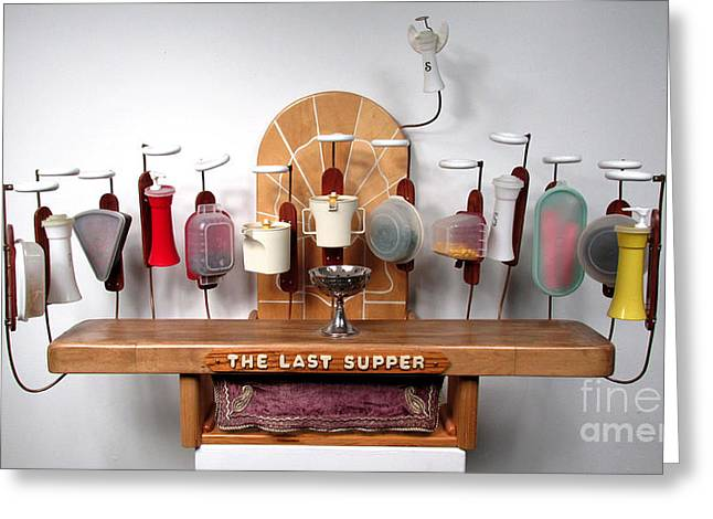Last Supper Mixed Media Greeting Cards - The Last Supper with Tupperwear Greeting Card by Bill Czappa