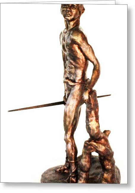 Indian Warrior Sculpture Greeting Cards - The Last Survivor Greeting Card by Wayne Niemi