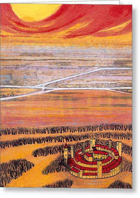 Fantasy World Greeting Cards - The Last Town, 2006 Greeting Card by Silvia Pastore