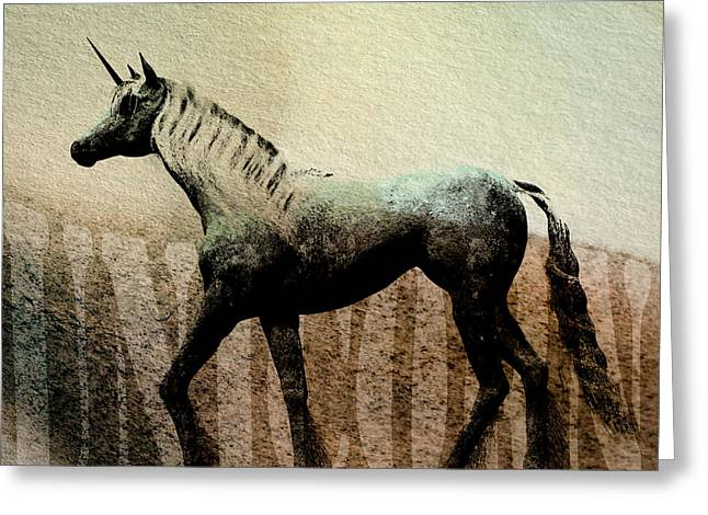 Surreal Fantasy Horse Fine Art Greeting Cards - The Last Unicorn Greeting Card by Bob Orsillo