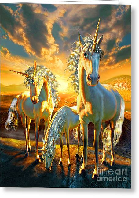 People Digital Greeting Cards - The Last Unicorns Greeting Card by Adrian Chesterman