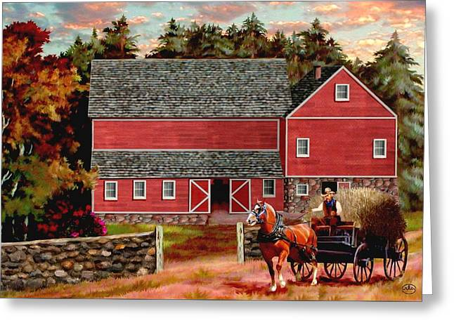 Wagon In A Barn Greeting Cards - The Last Wagon Greeting Card by Ronald Chambers