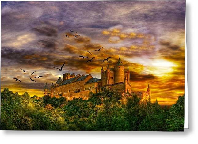 Castle. Birds Greeting Cards - The Late Autumn Greeting Card by Hao Chen