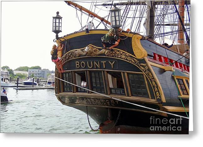Tall Ships On Water Greeting Cards - The Late Great Bounty Greeting Card by Ed Weidman