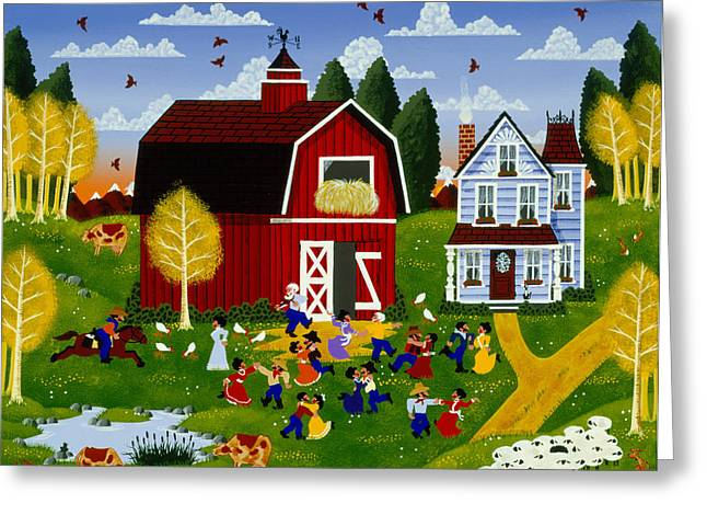 Barn Dance Greeting Cards - The Late Male Greeting Card by Merry  Kohn Buvia