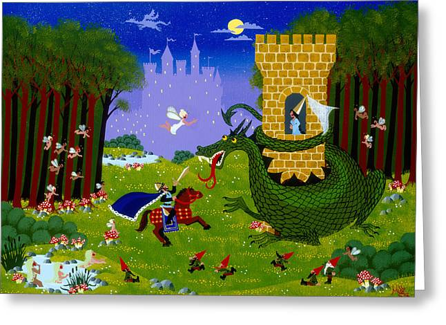 Knights Castle Paintings Greeting Cards - The Late Show Greeting Card by Merry  Kohn Buvia