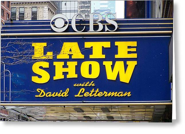 The Late Show With David Letterman Greeting Card by Kenneth Summers