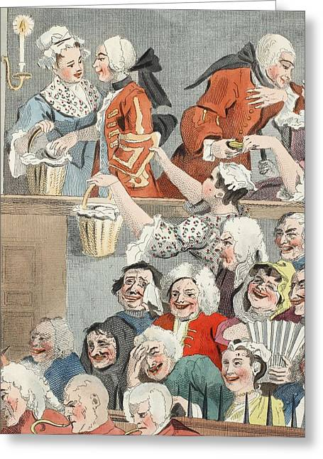 Laughs Greeting Cards - The Laughing Audience, Illustration Greeting Card by William Hogarth