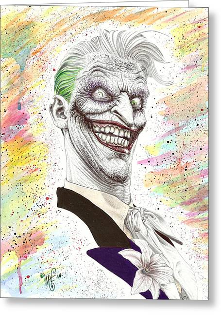 Wave Art Drawings Greeting Cards - The Laughing Man Greeting Card by Wave