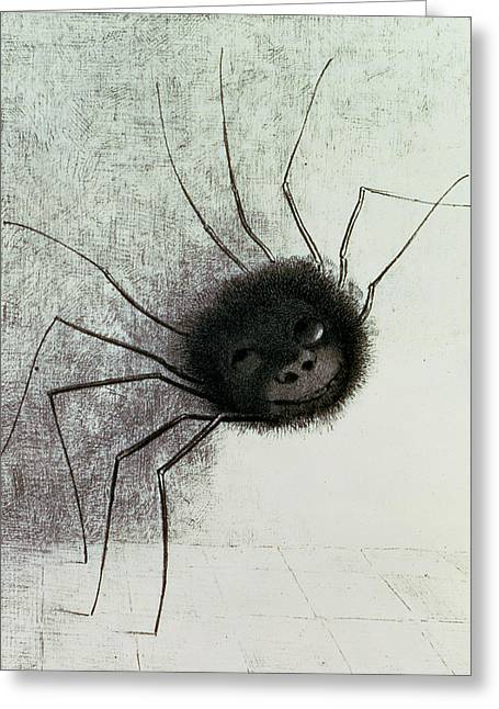 Spider Greeting Cards - The Laughing Spider Greeting Card by Odilon Redon