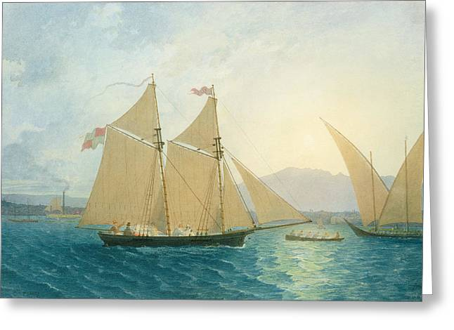 Swiss Greeting Cards - The Launch La Sociere on the Lake of Geneva Greeting Card by Francis  Danby