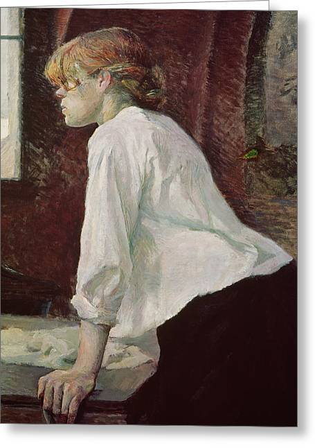 The Laundress Greeting Card by Henri de Toulouse Lautrec