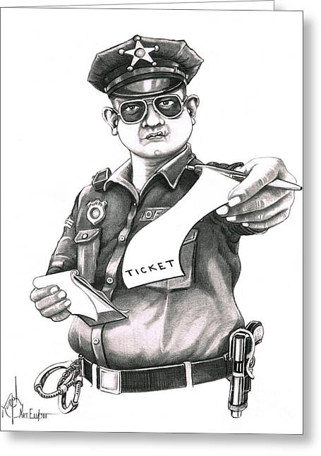 Police Officer Drawings Greeting Cards - The Law Greeting Card by Murphy Elliott