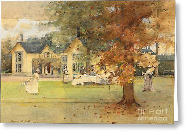 Fall Grass Paintings Greeting Cards - The Lawn Tennis Party Greeting Card by Arthur Melville