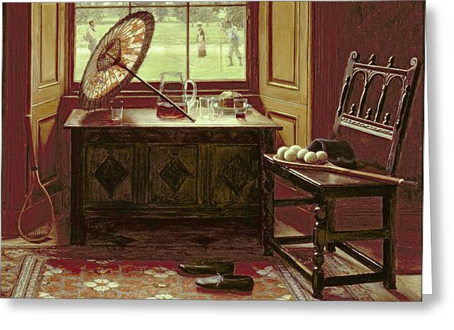 Racquet Paintings Greeting Cards - The Lawn Tennis Season, 1881 Greeting Card by Mary Hayllar