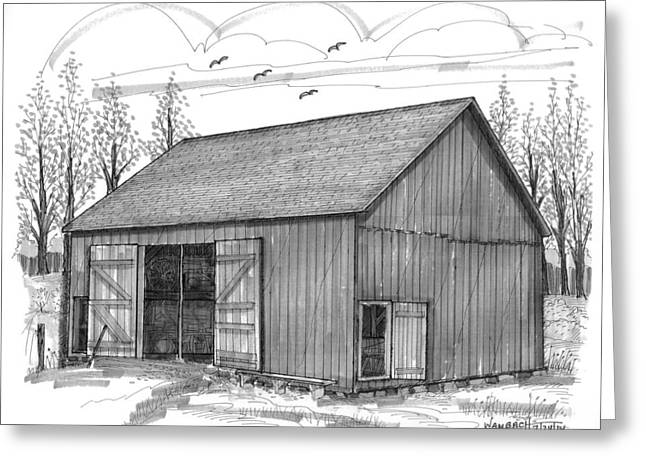 Stone House Drawings Greeting Cards - The Lawrence Barn Greeting Card by Richard Wambach