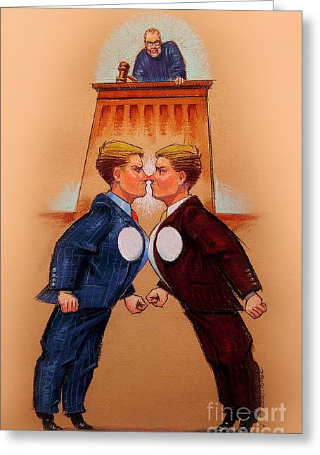 Suit Pastels Greeting Cards - The lawyers Greeting Card by John  Foster